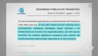 Coparmex pide a EPN no olvidar la