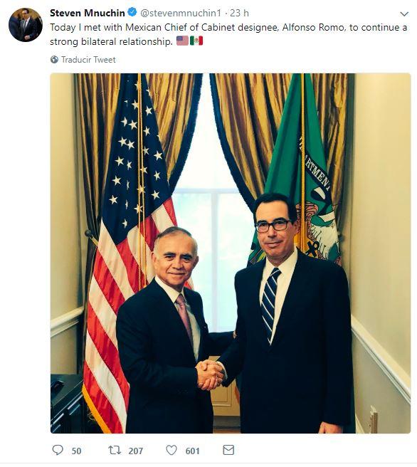 Delegación mexicana reanuda negociación del TLCAN en EU Mnuchin