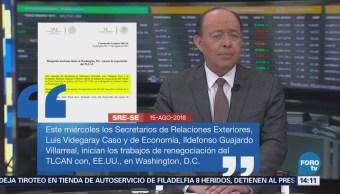 Equipo mexicano retoma negociación de TLCAN en EU: SRE