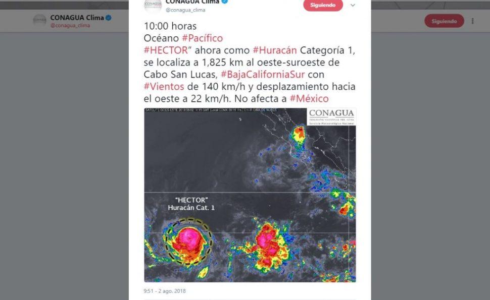 Héctor' se convierte en huracán categoría 1