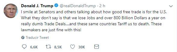 Libre comercio quita empleos y billones de dólares a EU Trump (Tweet)