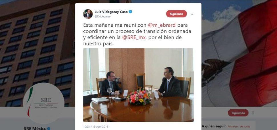 Videgaray tiene reunión con Ebrard para organizar la transición en SRE
