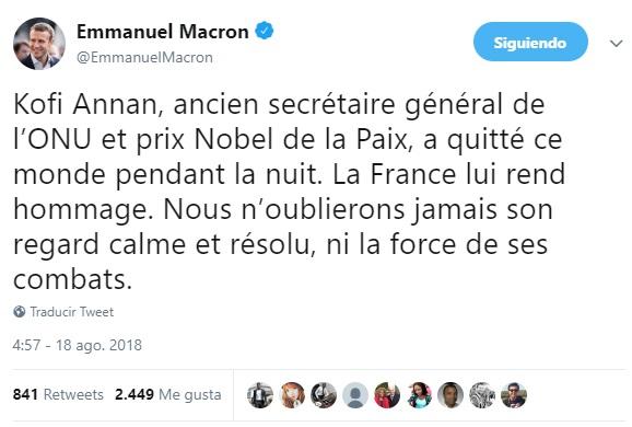 Presidentes del mundo lamentan muerte de Kofi Annan
