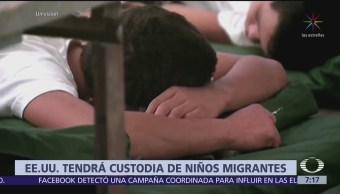 Niños migrantes quedarán bajo custodia del Gobierno de EU
