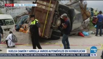 Chofer Camión Materialista Fuga Luego Accidente Huixquilucan