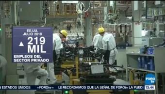 Sector privado crea 219 empleos en EU