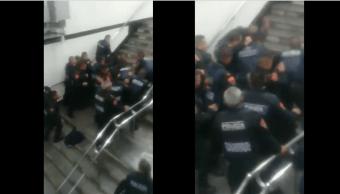 ssp, policias bancarios pelea metro zocalo
