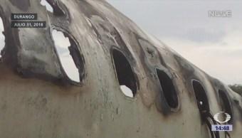 Remueven restos del avión accidentado en Durango