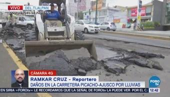 Reparan asfalto dañado por lluvias carretera Picacho-Ajusco
