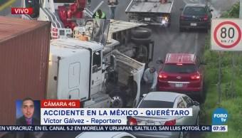 Reportan accidente en la autopista México-Querétaro