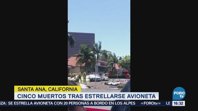 Reportan cinco muertos por desplome de avioneta en California, EU