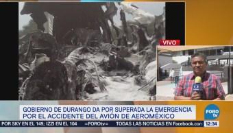 Reportan fuera de peligro al piloto del avión de Aeroméxico siniestrado