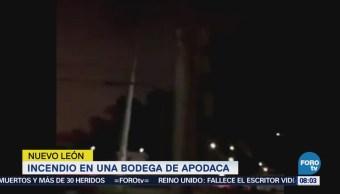 Reportan Incendio Bodega Apodaca Nuevo León