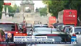 Reportan tránsito fluido en avenida Reforma, CDMX
