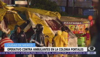 Retiran puestos ambulantes en la colonia Portales, CDMX