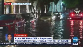 Se registran encharcamientos por fuertes lluvias en CDMX