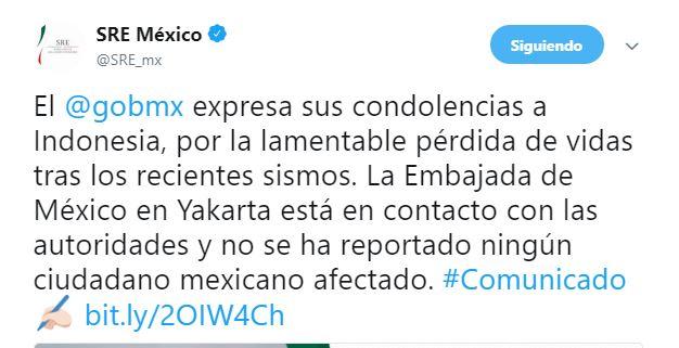 Gobierno de México expresa condolencias a Indonesia por sismos
