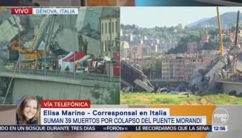 Suman 39 muertos por colapso de puente en Génova