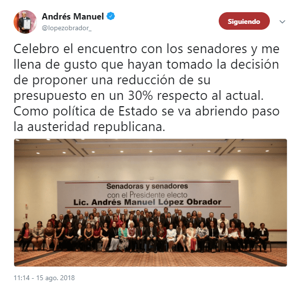 AMLO tiene reunión con senadores electos de Morena, PT y PES; planean minimizar 30% su presupuesto