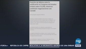 Posición De México Ante Notificación Congreso EU Sobre Tlcan