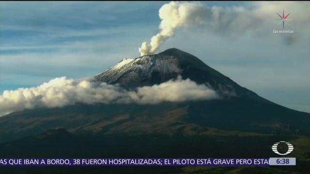 Volcán Popocatépetl registra tres horas de exhalaciones
