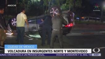 Vuelca camioneta en Insurgentes Norte y Montevideo