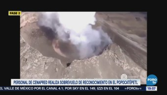 Cenapred realiza sobrevuelo volcán Popocatépetl