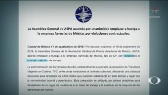 ASPA emplaza a huelga a pilotos de Aeroméxico