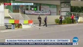 Bloquean instalaciones de la CFE en avenida Centenario