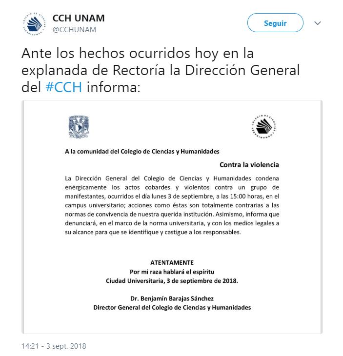 Dirección de CCH condena enfrentamiento en Rectoría de unam