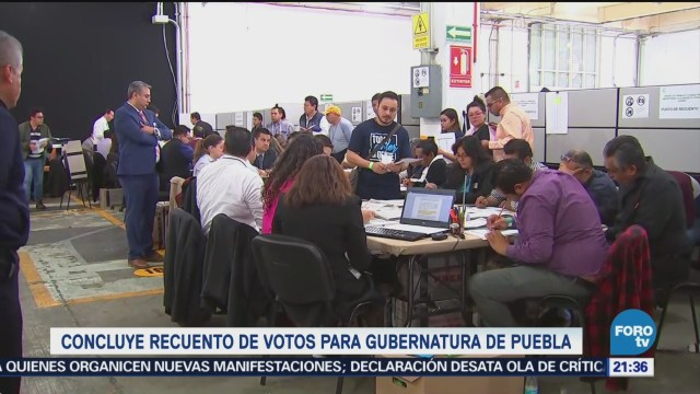 Concluye recuento votos gubernatura Puebla