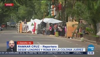 Continúa campamento en colonia Juárez tras desalojo