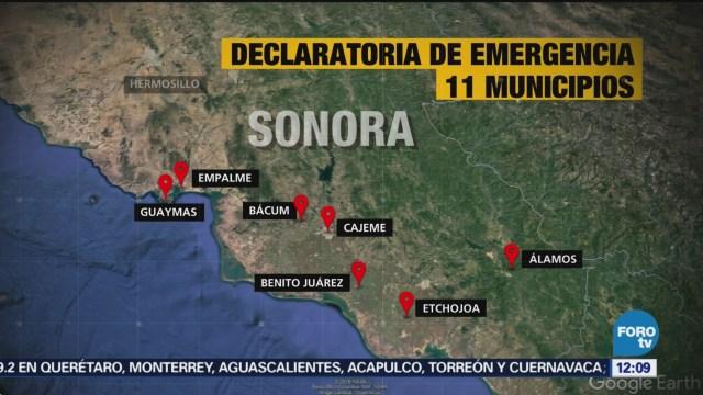 Cuáles son los municipios de Sonora declarados emergencia