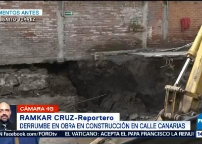 Derrumbe en obra en construcción en calle Canarias