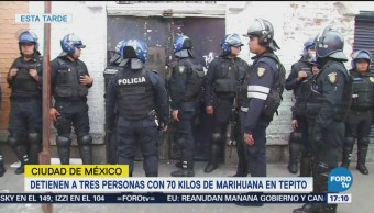 Detienen Tres Hombres 70 K Marihuana Tepito