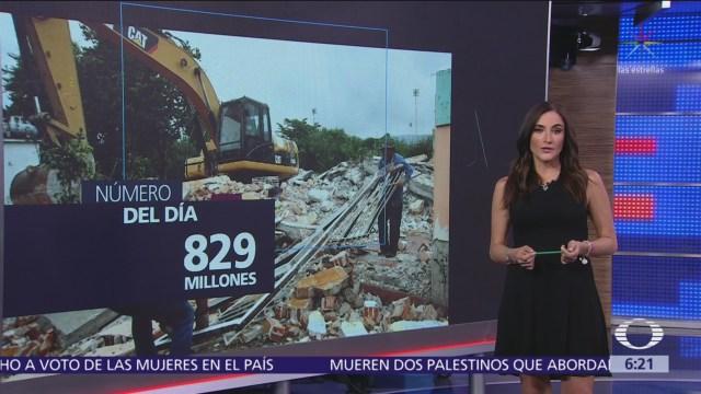 El número del día 829 millones donados para reconstrucción