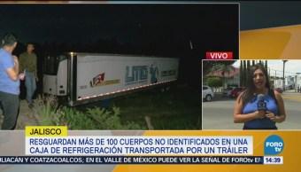 Encuentran 100 cuerpos en un tráiler en Jalisco