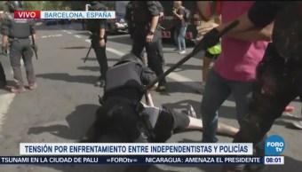 Enfrentamientos Entre Policías Manifestantes Barcelona