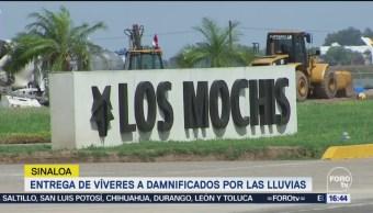 Entrega de víveres a damnificados por las lluvias en Sinaloa