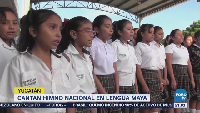 Escuelas indígenas cantan Himno Nacional en maya en Yucatán