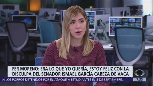 Fernanda Moreno dice que está satisfecha con disculpa