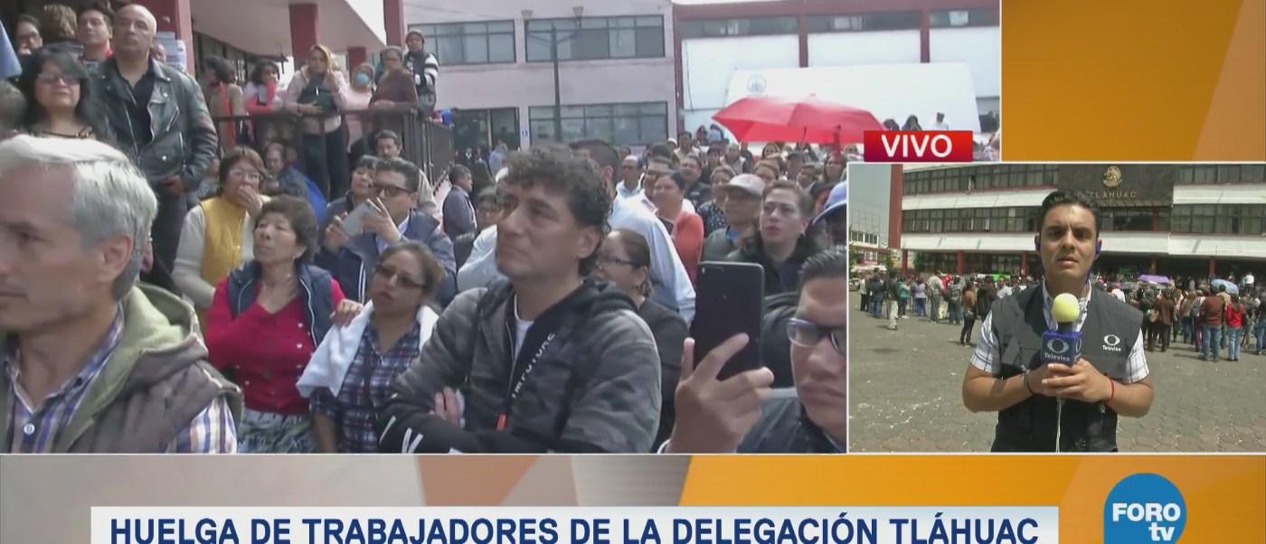 Huelga de trabajadores de la delegación Tláhuac, CDMX