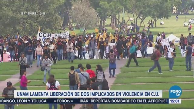 UNAM Lamenta Liberación Dos Implicados Actos Violencia CU