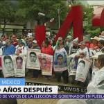 Marchan por los 43 normalistas de Ayotzinapa a 4 años