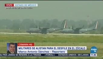 Militares alistan aeronaves para el desfile del 16 de septiembre en la CDMX