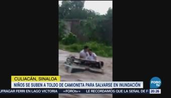 Niños Suben Toldo Camioneta Salvarse Inundación Culiacán