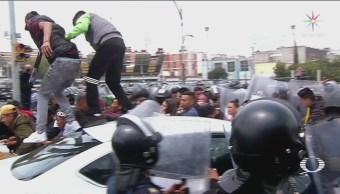 Policía capitalina disuelve manifestación de comerciantes