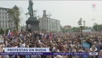 Protestan en Rusia por aumento en la edad de jubilación