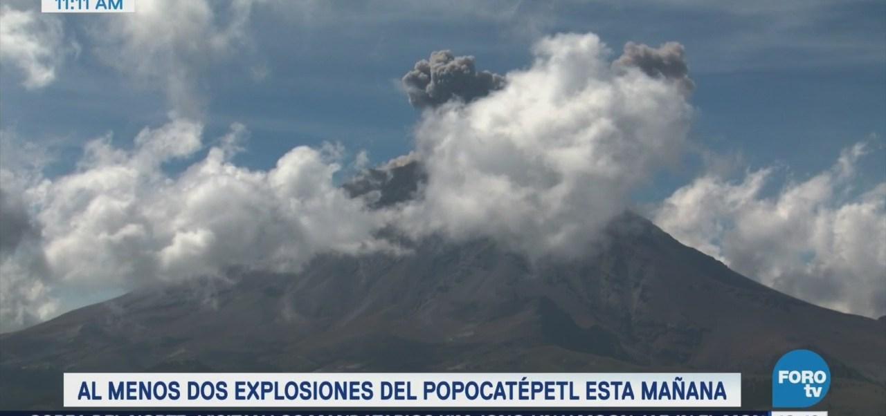 Registran dos explosiones en el volcán Popocatépetl