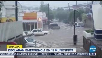 Registran en video efectos de lluvias en Sonora y Sinaloa